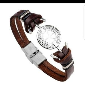 Unisex Brown Leather Cord Peace bracelet